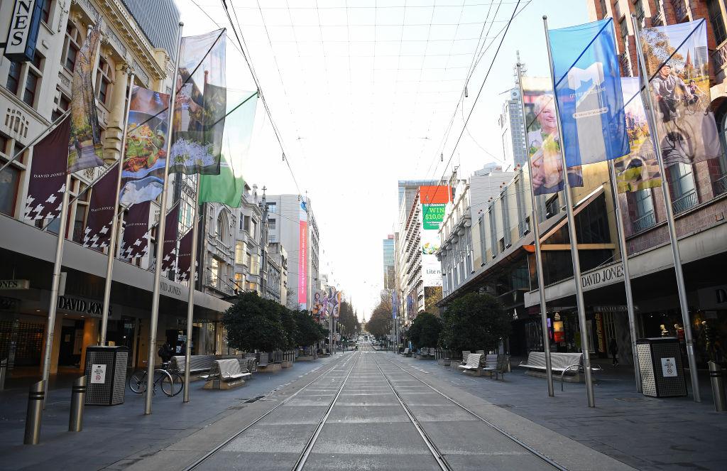 An empty Bourke Street Mall is seen in Melbourne, Australia on July 13, 2020.