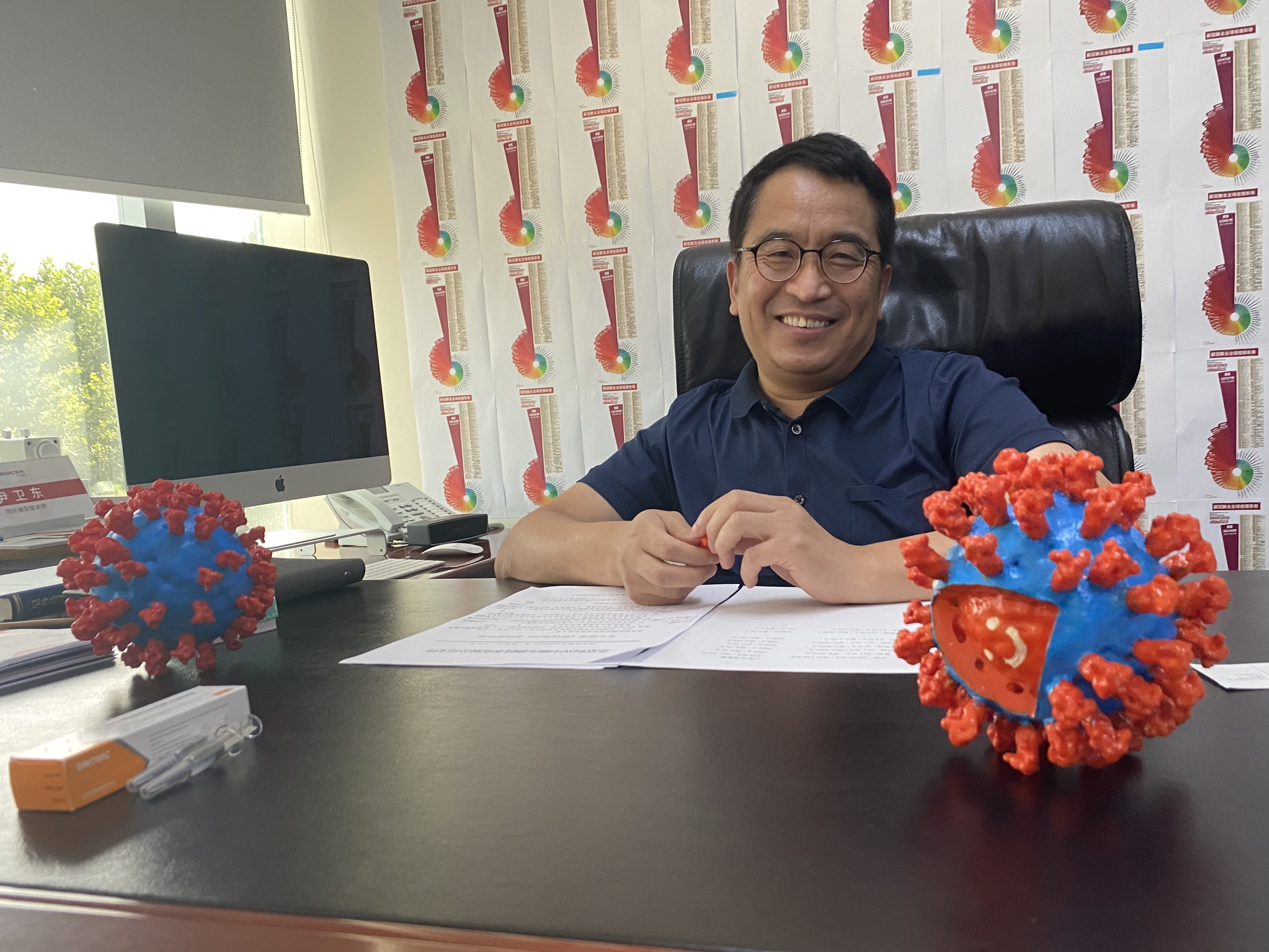 SinoVac CEO Yin Weidong in his Beijing office on Tuesday, July 21, 2020.