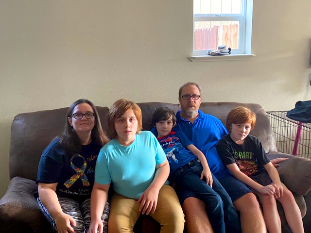Curtis Carlson and his family at their home in Ukiah, California.